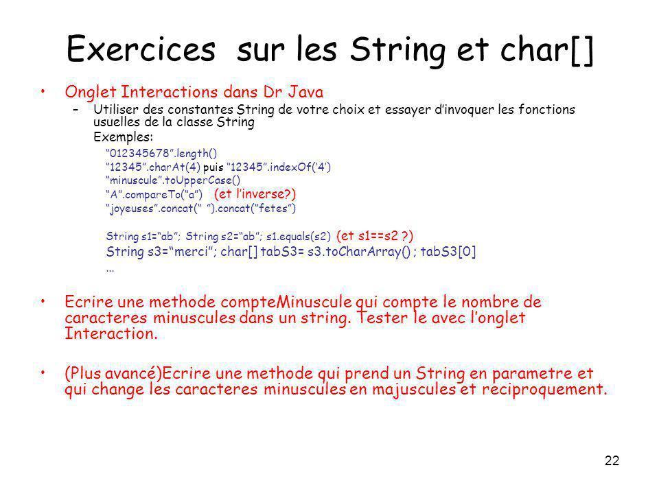 Exercices sur les String et char[]